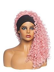 cheap -foreign trade headband wig headgear ladies fashion chemical fiber pink long curly hair chemical fiber mechanism headgear factory direct hair