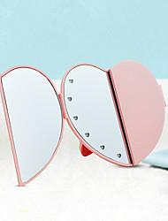 cheap -LED Makeup Mirror Heart-shaped Beauty Mirror Portable Folding Bag Mirror Princess European Style Dressing Mirror Beauty Makeup Mirror