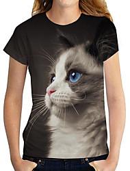 cheap -Women's 3D Cat T shirt Cat 3D Animal Print Round Neck Basic Tops Black