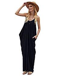 cheap -shein women's sleeveless spaghetti strap v neck backless draped maxi cami dress navy medium