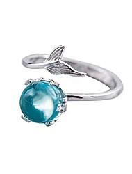 cheap -silver mermaid ring adjustable open ring &  blue crystal hypoallergenic ring for women girl