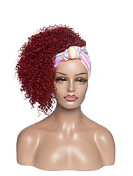 cheap -european and american simulation wigs, ladies color turban headgear, wine red small curly hair, cross-border mechanism wig manufacturers wholesale