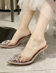 cheap -Women's Sandals Pumps Pointed Toe PVC Crystal Clear
