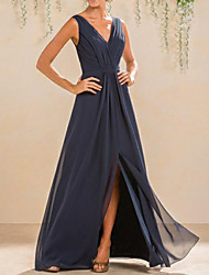 cheap -A-Line V Neck Floor Length Chiffon Bridesmaid Dress with Pleats / Split Front