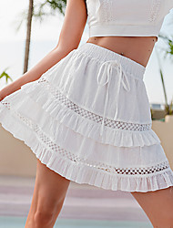 cheap -Women's Date Casual / Daily Streetwear Preppy Skirts Solid Colored Layered Ruffle White