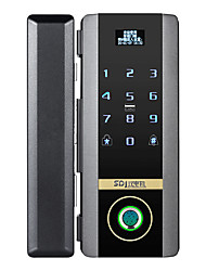 cheap -bangchen office glass door fingerprint lock free hole password lock double open free ground insert smart lock electronic access control lock