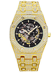 cheap -missfox men's watch full diamond hollow mechanical watch waterproof luminous stainless steel