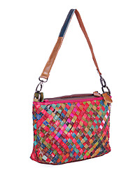 cheap -new leather woven handbags cross-border generation of leather striped woven three-layer pockets cross-body single shoulder small bag