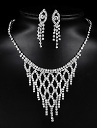cheap -Women's Bridal Jewelry Sets Geometrical Precious Tassel Silver Plated Earrings Jewelry Silver For Christmas Party Wedding Gift Festival 1 set