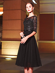 cheap -banquet evening dress 2020 autumn new fashion temperament 18-year-old adult ceremony black mid-length dress female