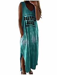cheap -Women's Midi Dress Wine Purple Yellow Gray Green Sleeveless Pattern Spring & Summer Casual 2021 S M L XL XXL 3XL