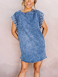 cheap -ebay amazon europe and the united states cross-border hot style 2021 summer sleeveless loose elastic foam bead denim dress women's clothing