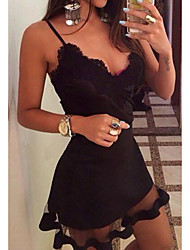 cheap -Women's Strap Dress Short Mini Dress Black Sleeveless Solid Color Lace Fall Summer V Neck Sexy 2021 S M L