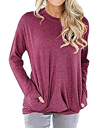 cheap -detachable sweatshirt with long sleeves and a round neck for women, pocket sweaters, loose tunics, shirts, blouses, tops - purple - medium