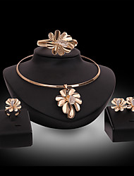 cheap -Women's Bridal Jewelry Sets 3D Flower Fashion Gold Plated Earrings Jewelry Gold For Christmas Party Wedding Gift Festival 1 set