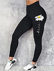 cheap -Women's Sporty Fashion Comfort Leisure Sports Weekend Leggings Pants Flower / Floral Ankle-Length Sporty Elastic Waist Print Black Blue