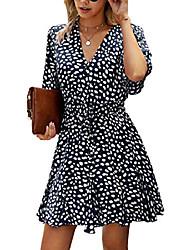 cheap -Women's A Line Dress Short Mini Dress Brick red White Black Dark Blue Half-Sleeve Dot Spring Summer Casual 2021 S M L XL