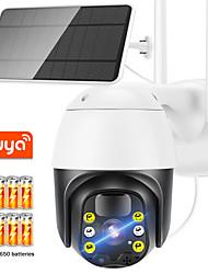 cheap -tuya wifi camera outdoor 1080p solar battery ptz security camera support alexa google home color night vision speed dome camera