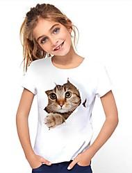cheap -Kids Girls' Tee Short Sleeve Cat Graphic Animal White Children Tops Active Cute 3-12 Years