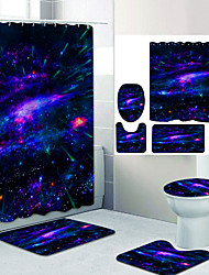 cheap -Beautiful Starry Sky Digital Printing Four-piece Set Shower Curtains and Hooks Modern Polyester Machine Made Waterproof Bathroom