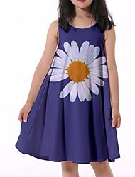 cheap -Kids Little Girls' Dress Daisy Graphic Print Blue Knee-length Sleeveless Flower Active Dresses Summer Regular Fit 5-12 Years