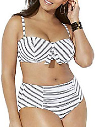 cheap -swimsuits for all women's plus size scout underwire shirred high waist bikini set 16 black white stripe
