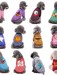 cheap -Dog Cat Halloween Costumes Sweatshirt Dog clothes Skull Pumpkin Plague Doctor Cosplay Funny Party Halloween Winter Dog Clothes Puppy Clothes Dog Outfits Warm 1 Purple Red Costume for Girl and Boy Dog