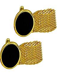 cheap -luxury exquisite classy round black rhinestone crystal cufflinks men's daily use bullet cufflinks (chainlink-gold)