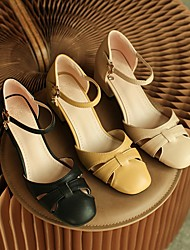cheap -Women's Heels Cuban Heel Square Toe Faux Leather Solid Colored Almond Black Yellow