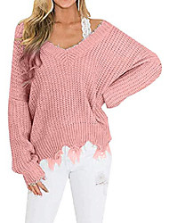 cheap -efofei womens v-neck ripped sweaters solid color frayed waffle knit jumper tops light pink xl