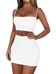 cheap -Women's Strap Dress fluorescent green White Black Sleeveless Solid Color Spring Summer Casual / Daily 2021 S M L XL