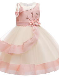 cheap -Kids Little Girls' Dress Flower Party Birthday Party Bow Red Blushing Pink Dusty Rose Above Knee Sleeveless Princess Cute Dresses Children's Day All Seasons Slim 3-10 Years