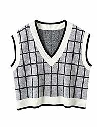 cheap -azhf women's vintage plaid v neck crop vest rib knit sleeveless sweater vest (color : small, size : white)