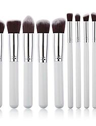 cheap -10pcs makeup brush set cosmetics blending blush eyeliner face powder brush (white+silver)