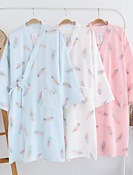 cheap -Crepe Cotton Bathrobe for Women, 7 / 4 Sleeve Thin Style, Kimono,Summer Living Clothes