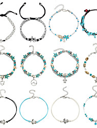 cheap -16-piece anklet  shell rice bead anklet female beach footwear set