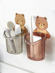 cheap -2 Pieces Wall-mounted Bear Toothbrush Cup Holder Free Punching Cup Bathroom Accessories Organizer Wall Sticker Hanging Brush Holder