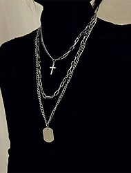cheap -cross necklace women street hip-hop students multi-layer simple sweater chain net celebrity cool