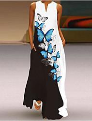 cheap -2021 new summer women's sleeveless long skirt v-neck printed jade flower dress european and american cross-border foreign trade women's clothing