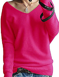 cheap -ladies fashion cashmere sweater sexy loose large long sleeves v-neck bat wings autumn and winter sleeveless sweater rose red de 50