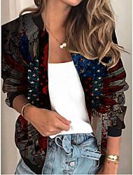 cheap -Women's Jackets Print Print Sporty Spring Jacket Regular Daily Long Sleeve Air Layer Fabric Coat Tops Black