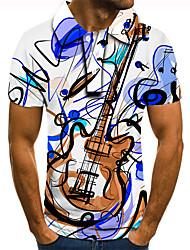 cheap -Men's Golf Shirt Tennis Shirt 3D Print Guitar Notes Button-Down Short Sleeve Street Tops Casual Fashion Cool Blue / Sports