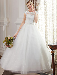 cheap -Ball Gown Wedding Dresses Jewel Neck Floor Length Lace Over Tulle Cap Sleeve Romantic Illusion Detail with Beading Appliques 2021