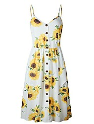 cheap -yzeecol women's summer dress with pocket bohemian floral spaghetti strap swing midi dress yellow l