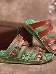 cheap -Women's Sandals Flat Heel Round Toe PU Color Block Green