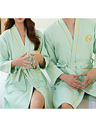 cheap -Superior Quality Bath Robe,Green Couple Long 100% Cotton Water Absorbing Bathrobe Quick Drying Couple Bath Towel
