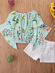 cheap -Toddler Girls' Clothing Set Casual Floral 3/4 Length Sleeve Basic Regular Short Blushing Pink Army Green Khaki