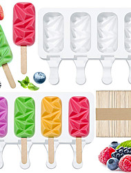 cheap -Ice Cream Silicone Mold BPA Free Food Grade Silicone Gem Shape Ice Cream Mold Set Popsicle Mold Silicone Ice Pop Mold with 50 Pieces Wooden Stick Cooling in Summer