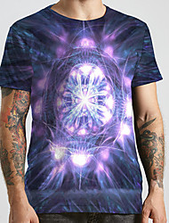 cheap -Men's Unisex Tee T shirt 3D Print Graphic Prints Star Plus Size Print Short Sleeve Casual Tops Basic Designer Big and Tall Purple