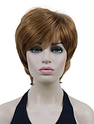 cheap -Short Layered Light Auburn Thick Fluffy Full Synthetic Wig Mother's Day gift